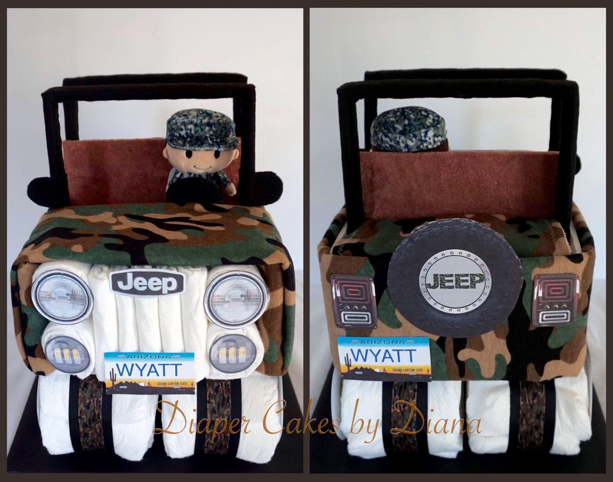 Camo jeep diaper cake