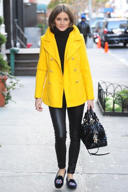 Olivia Palermo - a yellow jacket with black leather trousers and velvet  slippers c2895c3a7b1c