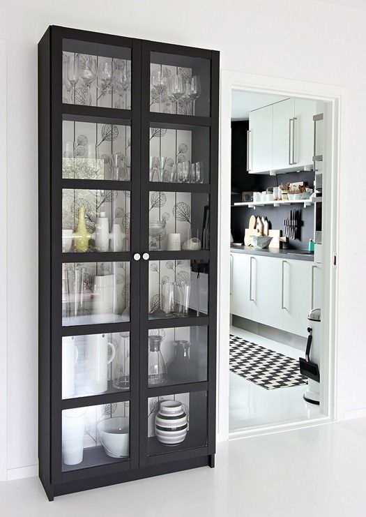 Billy Bookcase With Glass Doors From Ikea Great For Extra Dish Storage In Dining Room