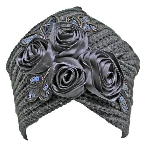 Charcoal Gray Thick Knit Turban Wrap Beanie Hat With Satin Floral Design