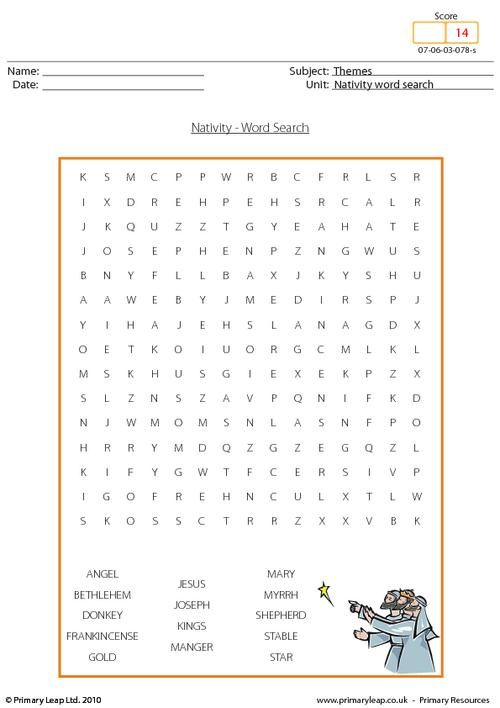 PrimaryLeap.co.uk - Christmas - word search nativity Worksheet ...