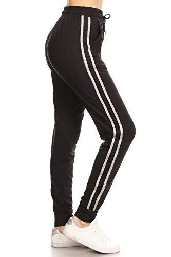 085c0a5433 Leggings Depot Women's Solid Striped Side Activewear Jogger Track Cuff  Sweatpants Inner Pockets #leggings #pants