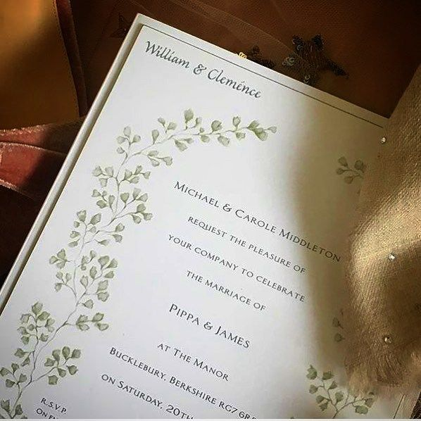 c72e348da24c Pippa Middleton s Charming Country Wedding Invitation is Actually a  Reception Card Featuring Maidenhair Ferns