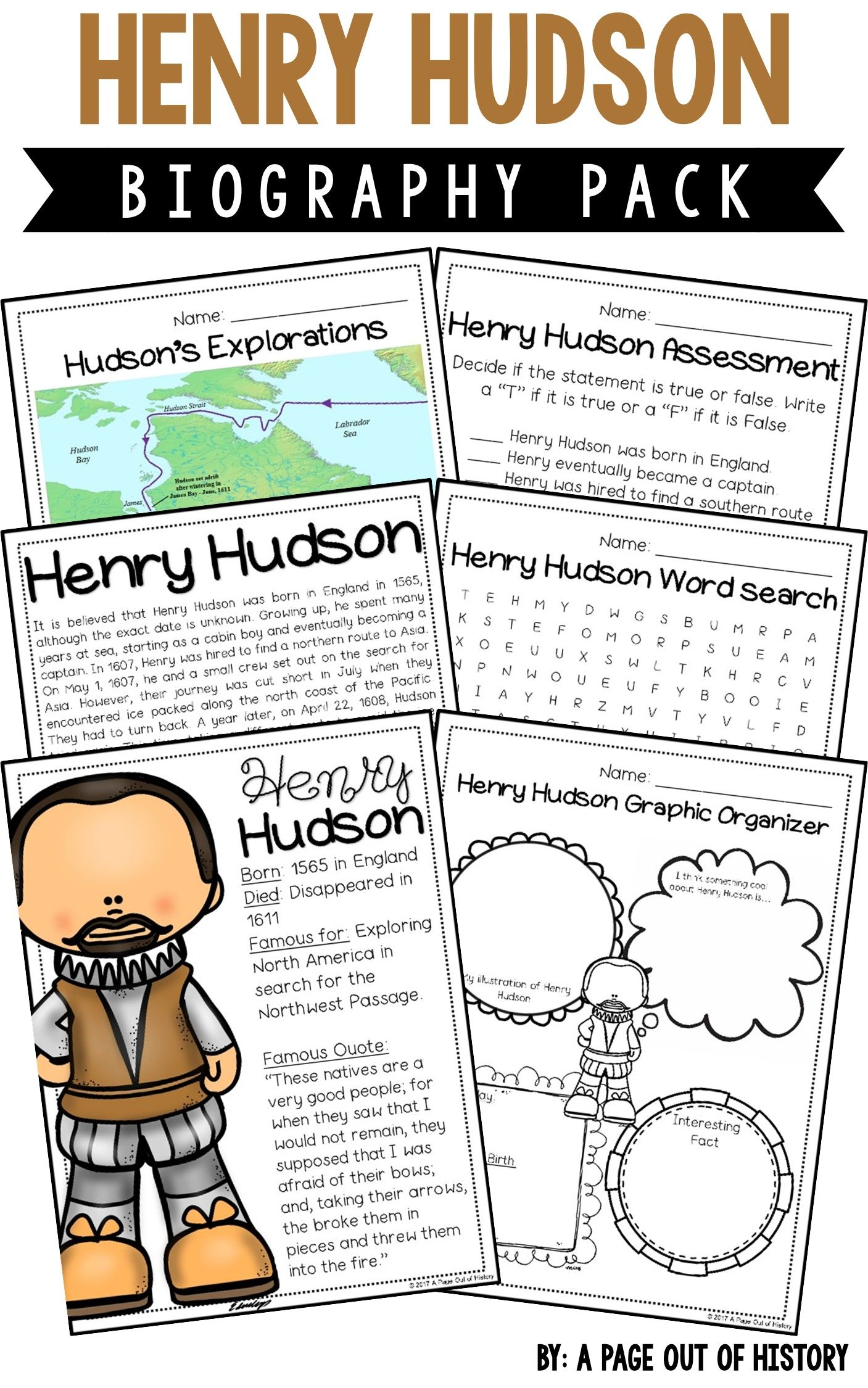 Henry Hudson Biography Pack