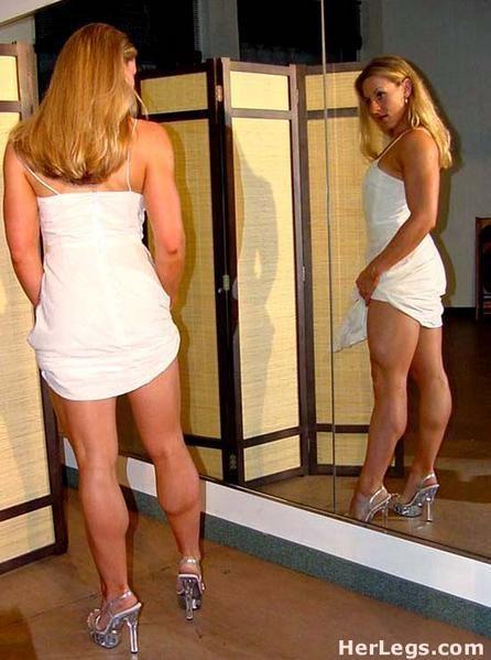 Short muscular girl legs