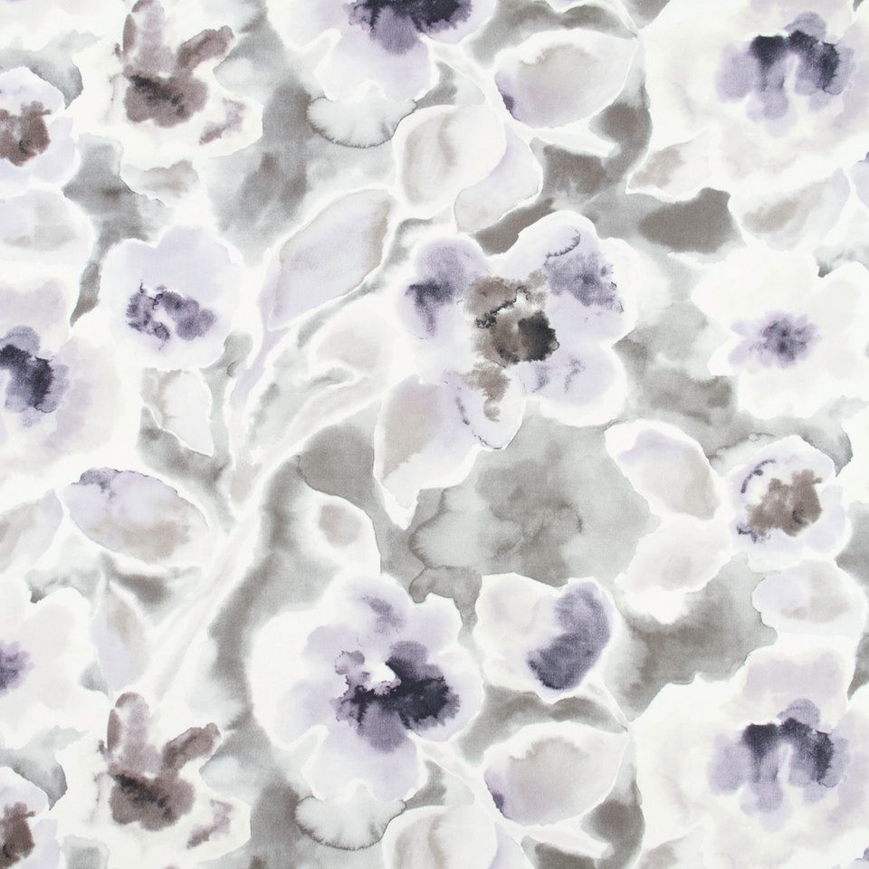 Abstract Grey Floral Cotton Upholstery Drapery Fabric Modern Purple Grey Watercolor Floral Curtain M Floral Upholstery Fabric Lilacs Fabric Floral Upholstery