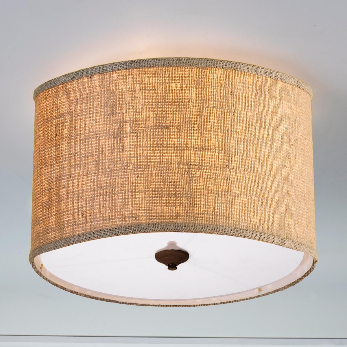 Burlap Drum Shade Ceiling Light | Drum shade, Ceiling and Drums
