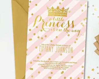 Little Princess Pink And Gold Baby Shower Invitation, Princess Baby Shower  Invitation, Princess Pink Gold Baby Shower Invitation, 1002 B