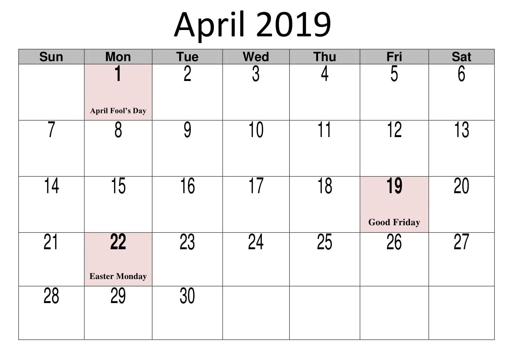 April 2019 Calendar Template Printable In Pdf Word Excel