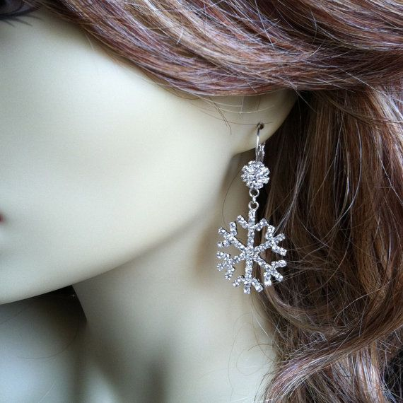 Snowflake earrings winter jewelry snowflake wedding snowflake