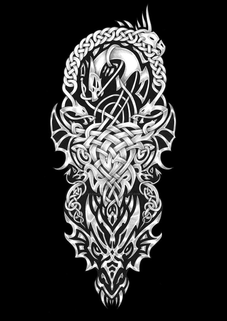 another new custom tattoo sleeve design featuring wolves and celtic knot work tattoo. Black Bedroom Furniture Sets. Home Design Ideas