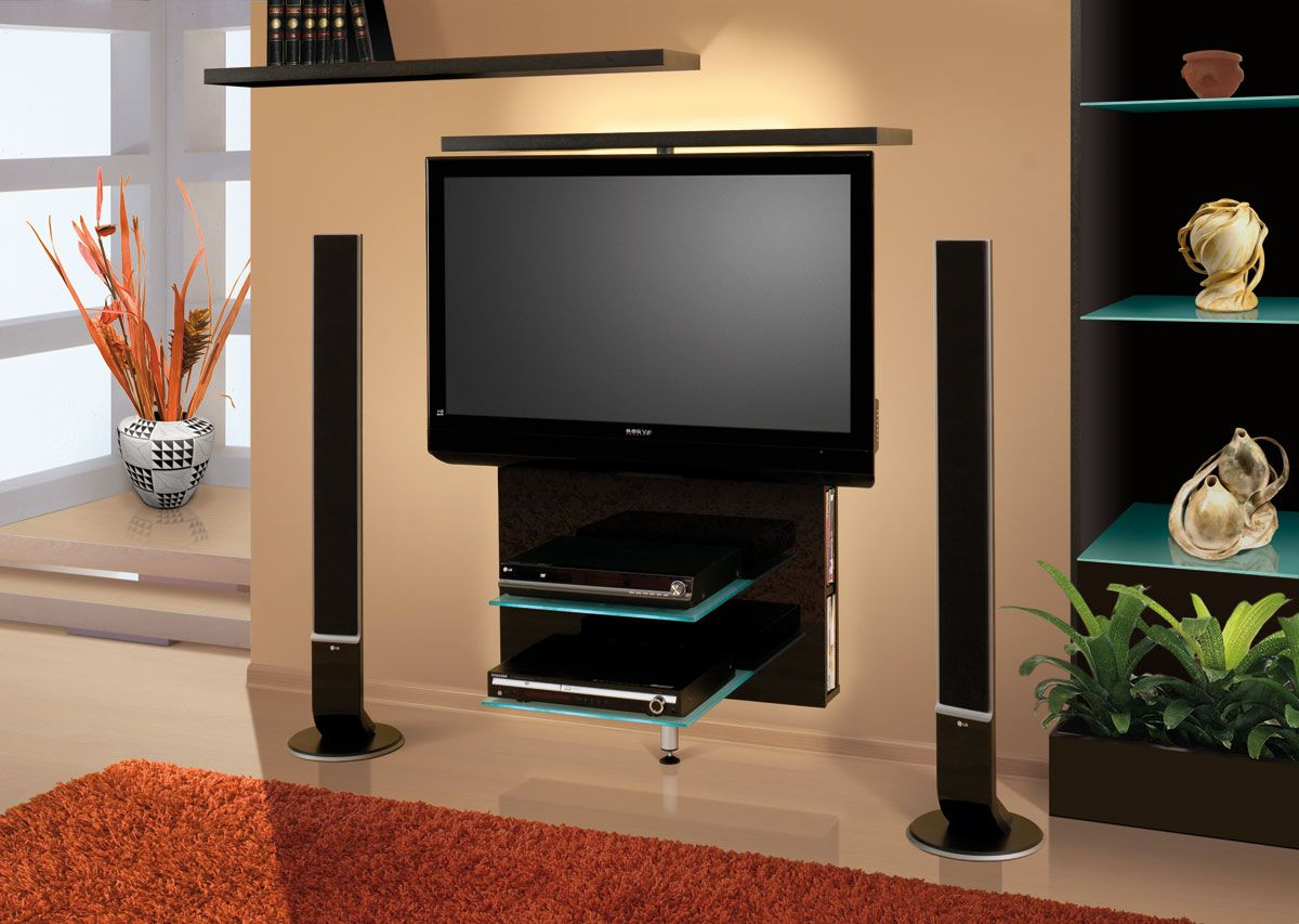 black acrylic floating tv stand mixed with two glass shelving unit combined  with rectangle orange rug. Captivating TV Stand For Wall Mounted TV Design