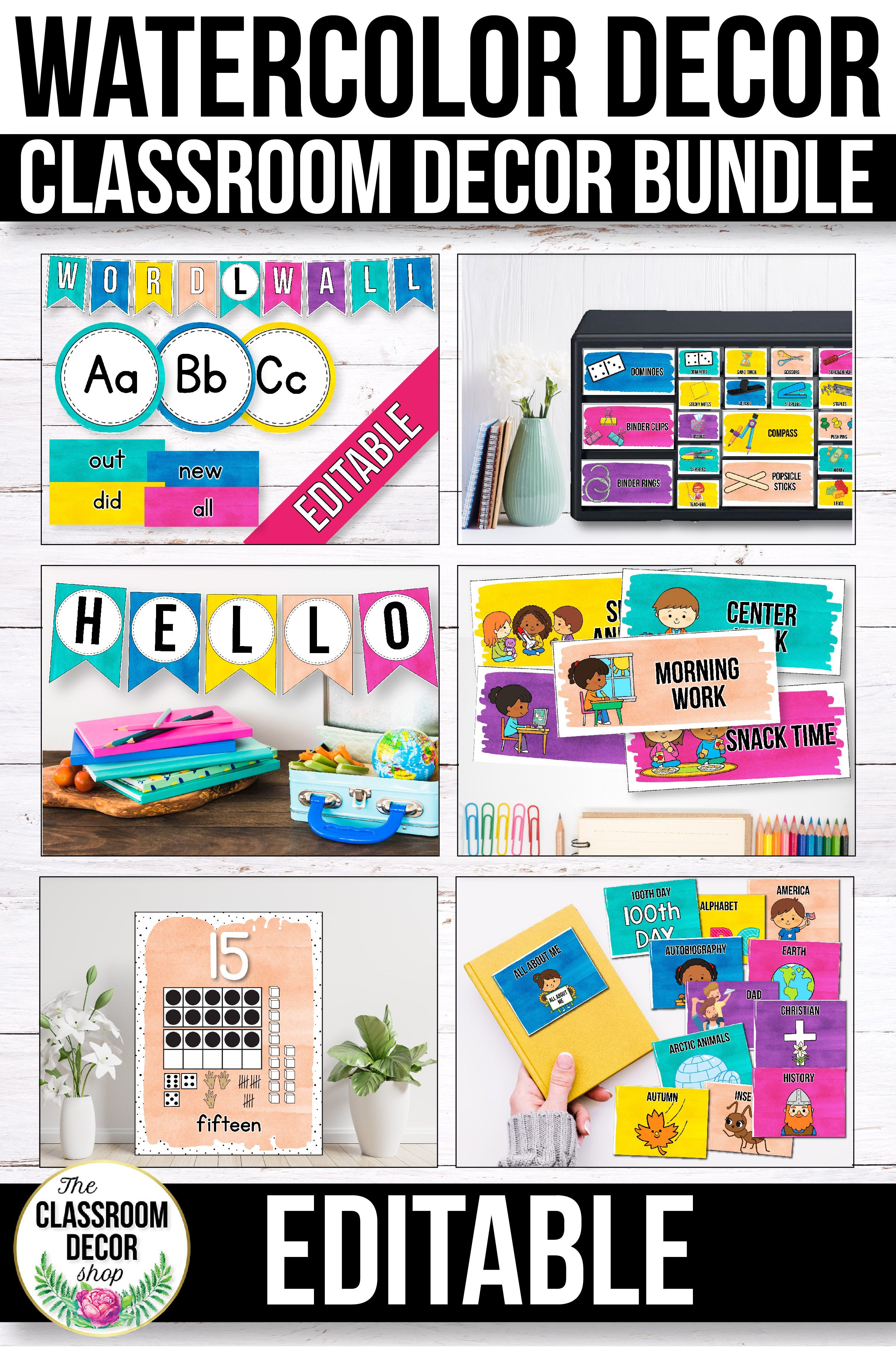 Watercolor Classroom Decor Bundle Editable Classroom Decor