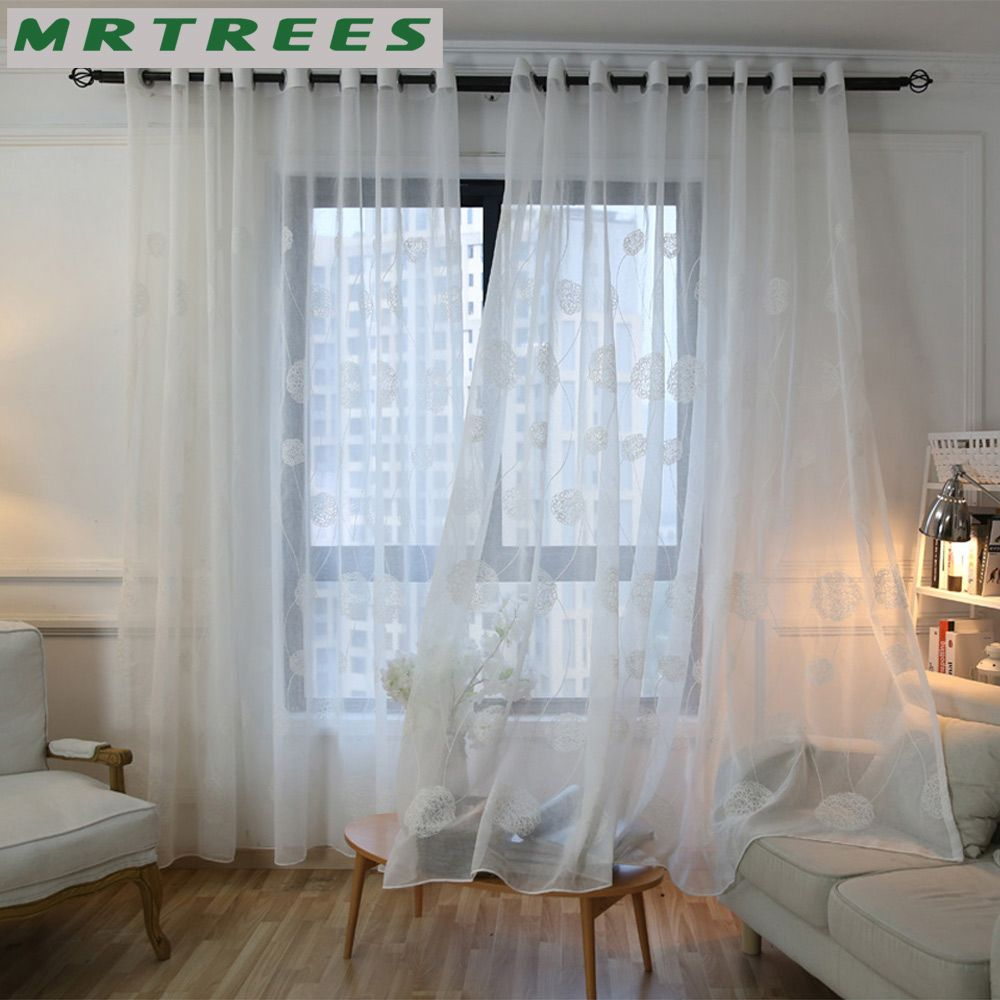 MRTREES White Embroidered Sheer Window Curtains Tulle Curtains for ...