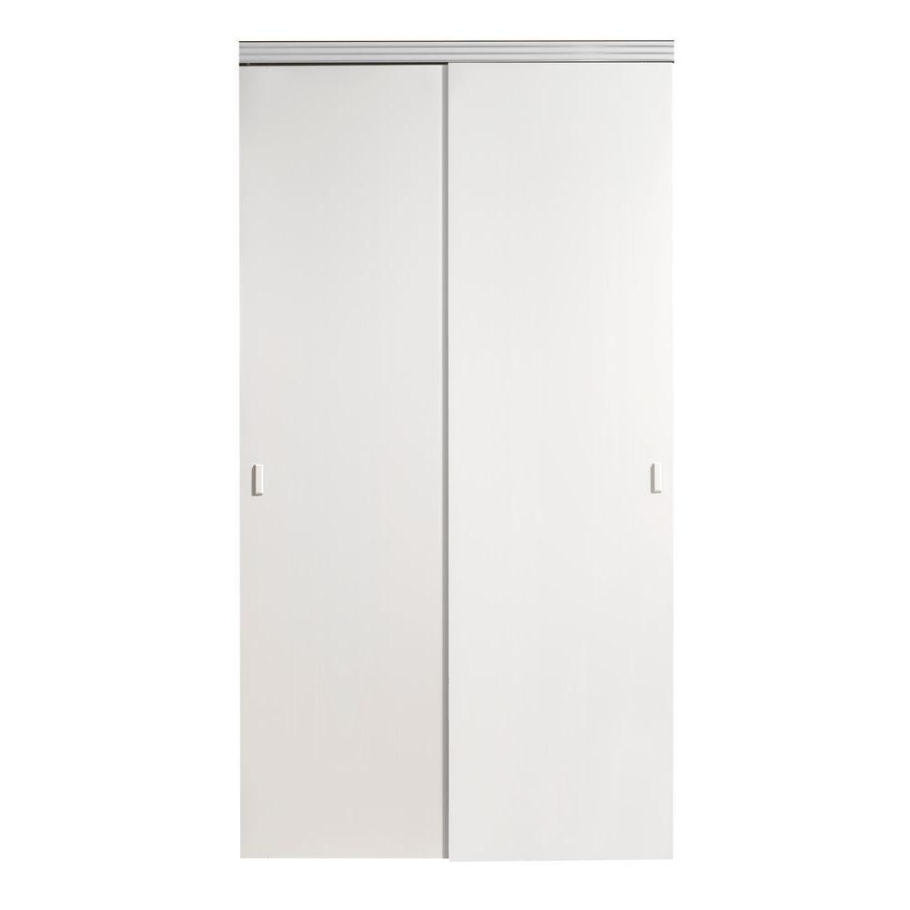 Impact Plus 60 In X 80 In Smooth Flush White Solid Core Mdf Interior Closet Sliding Door With Chrome Trim Sfw342 6080c Sliding Doors Interior Sliding Closet Doors Sliding Doors