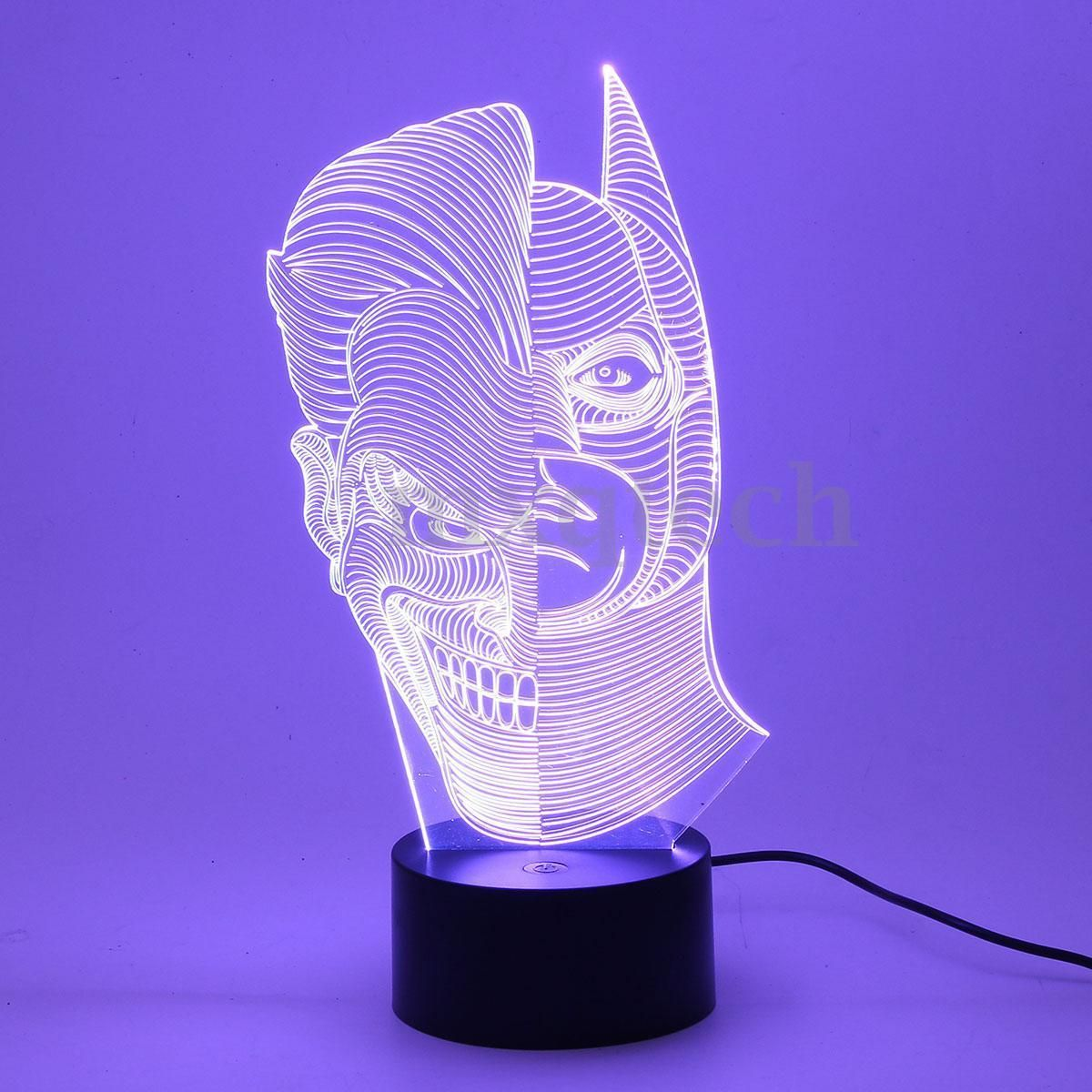 3d Illusion Jocker Man Bedroom Night 7 Color Change Led Desk Table Light Lamp Color Changing Led Light Table 3d Illusions