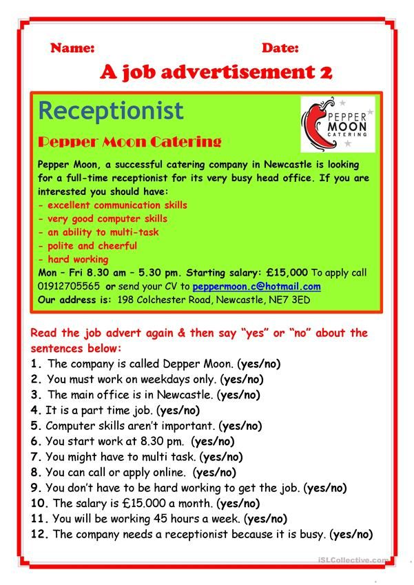 job advertisement 2 esl worksheets of the day job