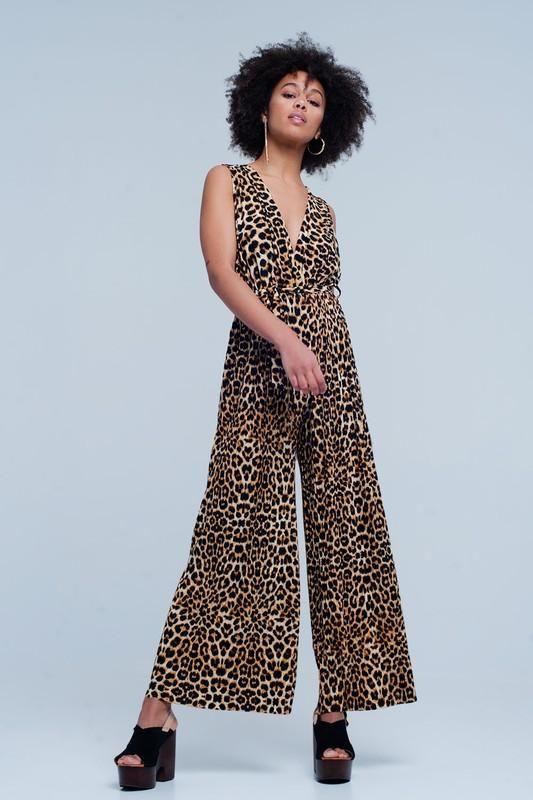94feee83abf Sleeveless Leopard Print Wide Leg Jumpsuit in 2019