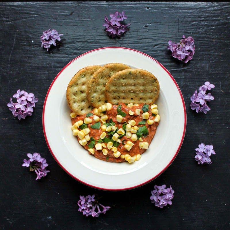black bean, corn   basil dip   crackers {recipe redux}