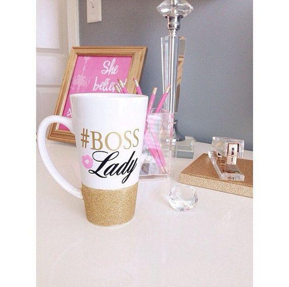 Boss Lady Glitter Mug - Glitter Dipped Mug - Ceramic Coffee Mug - Boss Mug - Best Boss Gift - Boss Coffee Mug #bosscoffee