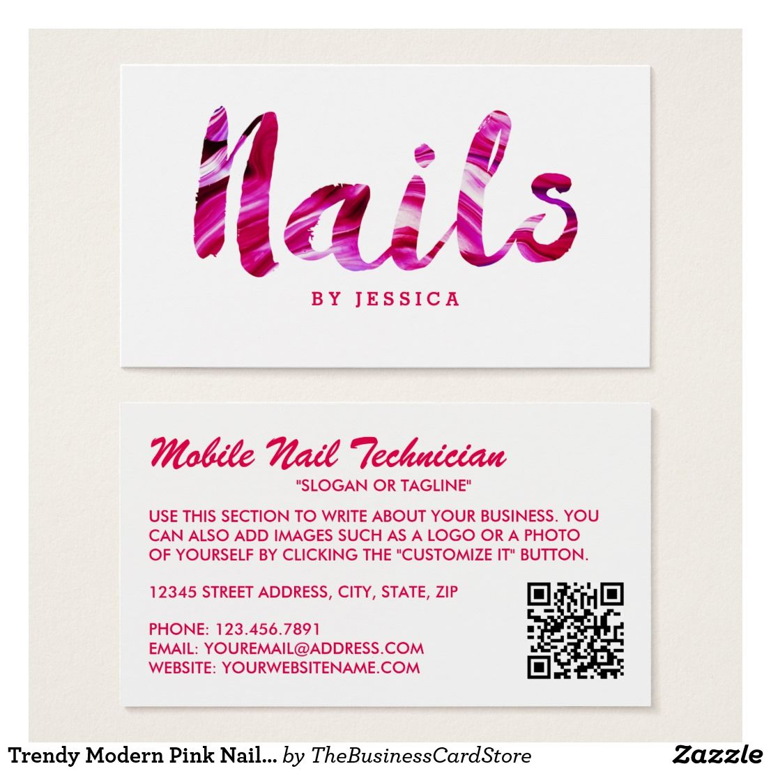 Trendy modern pink nail technician business card nail bar inspo trendy modern pink nail technician business card magicingreecefo Choice Image