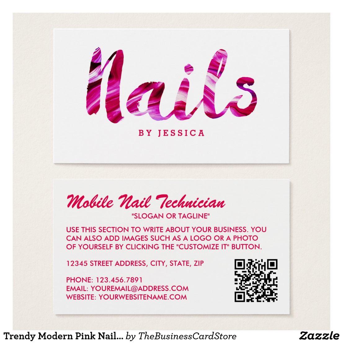 Trendy Modern Pink Nail Technician Business Card