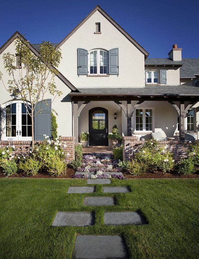 Image result for home exterior pic cream blue shutters for Brick houses without shutters