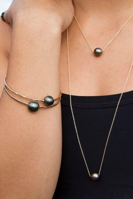 Tahitian pearl necklace fine gold chain floating genuine pearls tahitian pearl necklace floating black pearl jewelry elegant long necklace mothers aloadofball Image collections