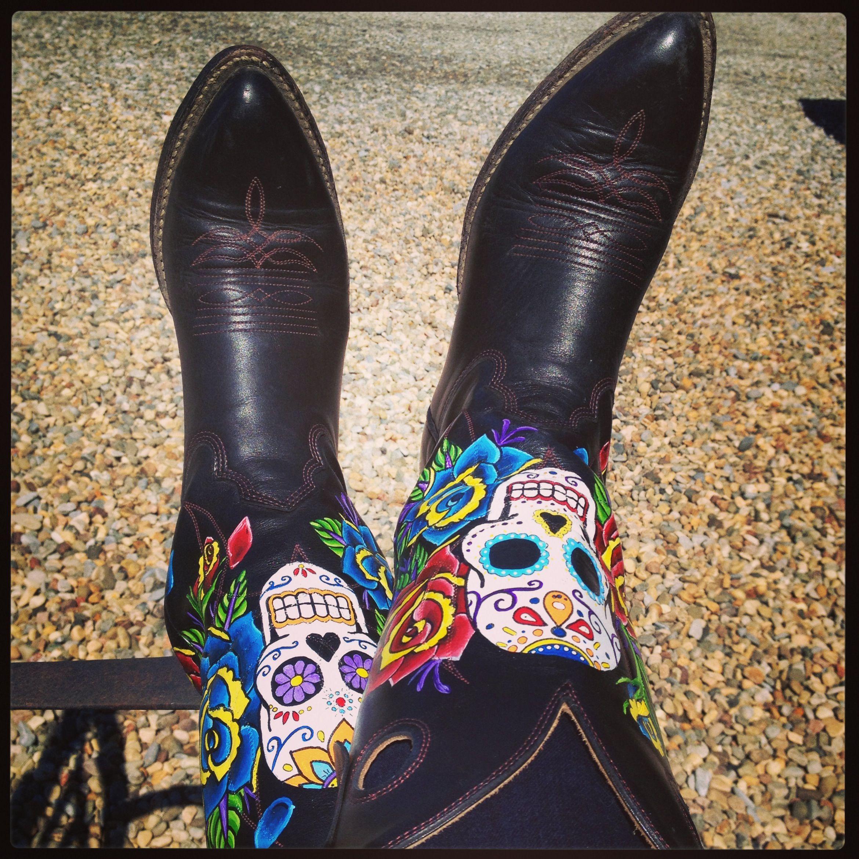 Dia de los muertos boots!   Style   Pinterest   Cowboys, Acrylics ...