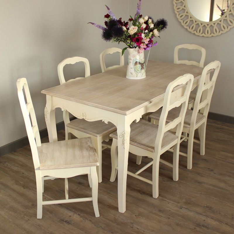 country ash range furniture bundle cream large dining table and 6 chairs - Cream Kitchen Tables