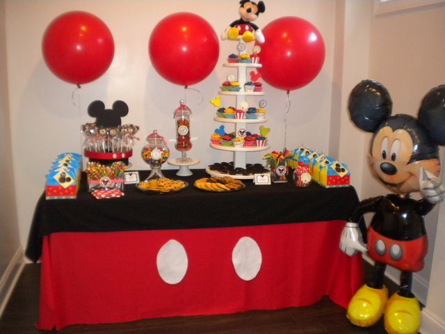 Mickey Mouse Party Decoration Dessert Table Setup