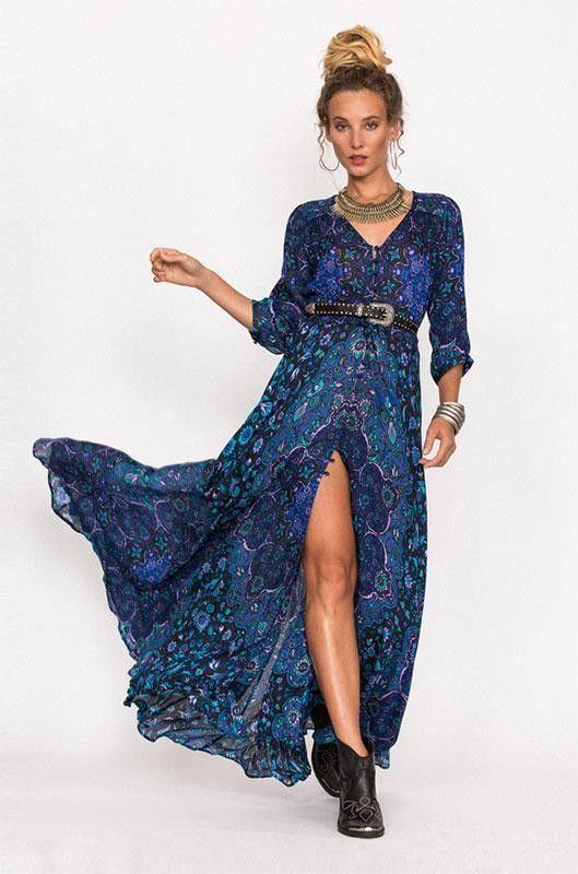Summer navy blue maxi dresses