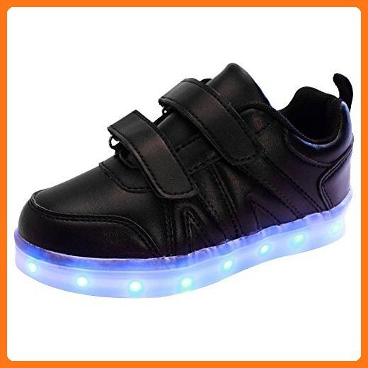 Boys Girls USB 7 LED Light Up Shoes Kids Child High Top Luminous Sports Sneakers