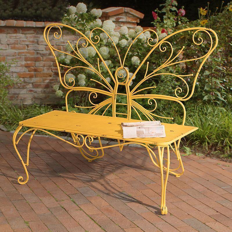 Sunjoy Butterfly Patio Bench Metal Garden Benches Patio Bench