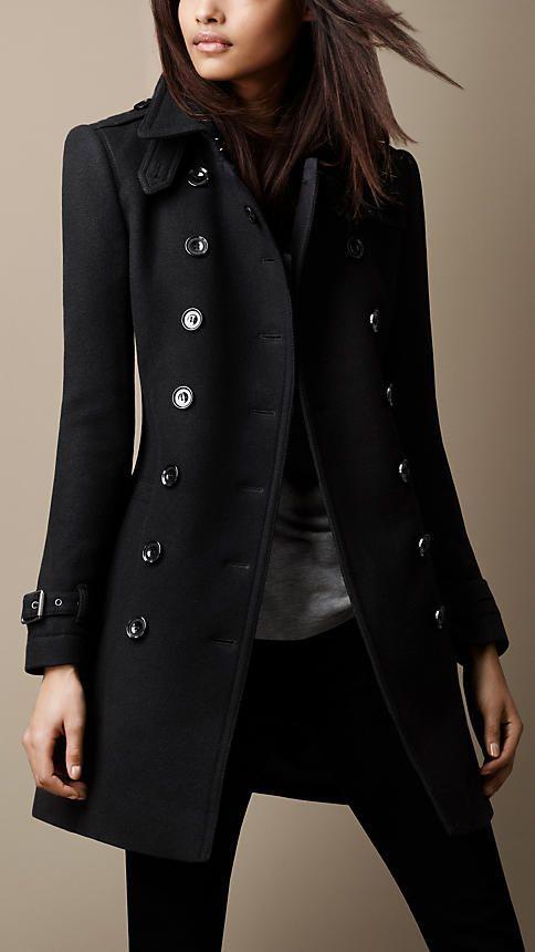 Gabardina negra | Abrigos de moda, Gabardinas negras, Moda