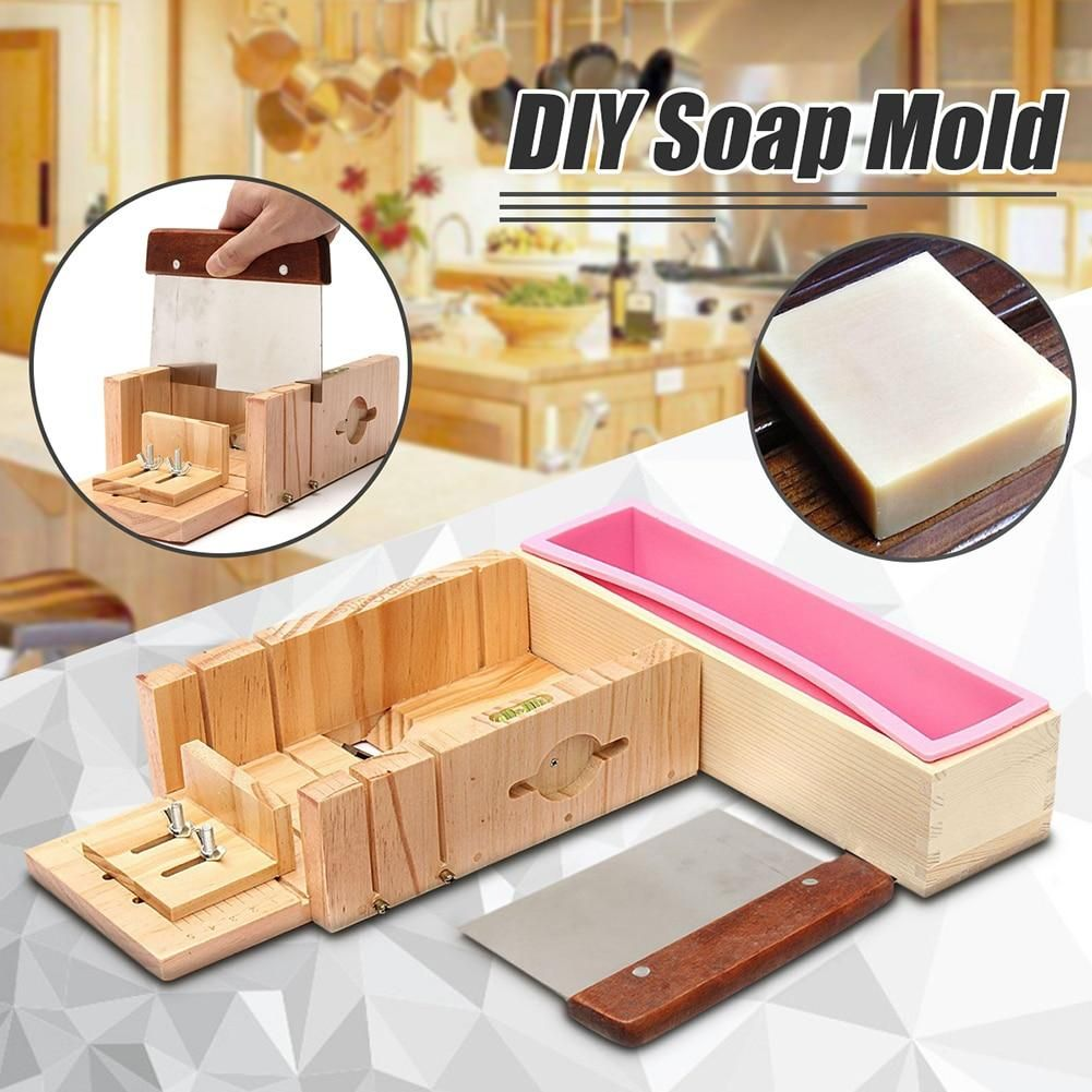 Silicone Soap Mold With Wooden Box Homemade Loaf Soap