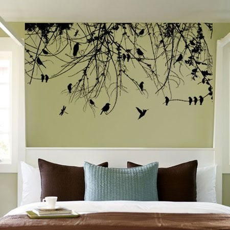 tree branch with birds and dragonfly vinyl wall art decal (wd-0160