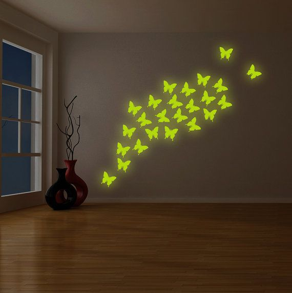 24x The Flying Butterfly Glow At Night Decal Glowing Vinyl Etsy Illustration Decor Vinyl Wall Decals Wall Decals