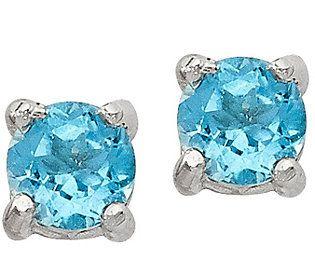 Sterling 4mm Round Gemstone Post Earrings