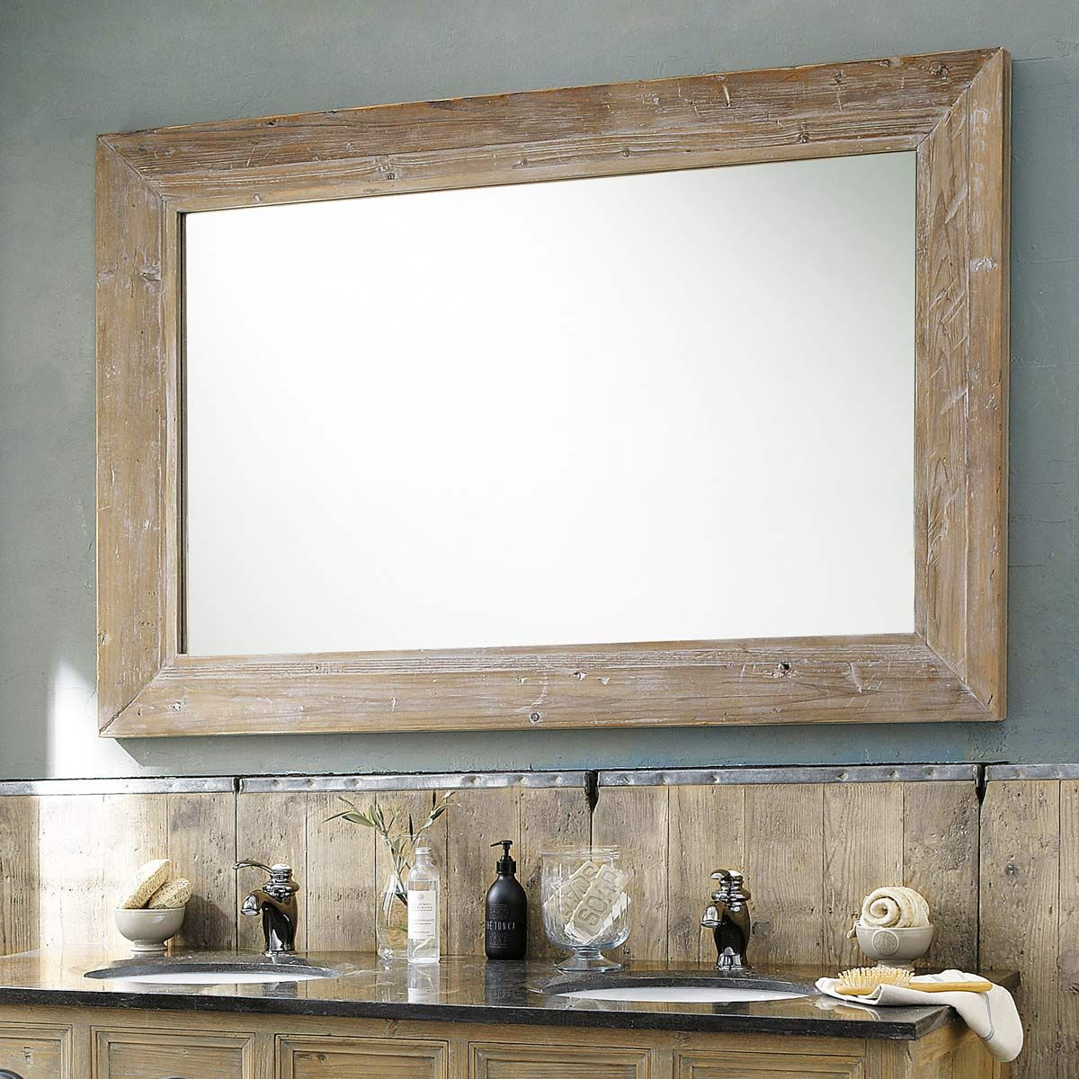 Miroir en bois blanchi h 200 cm cancale tradition for Grand miroir mural horizontal