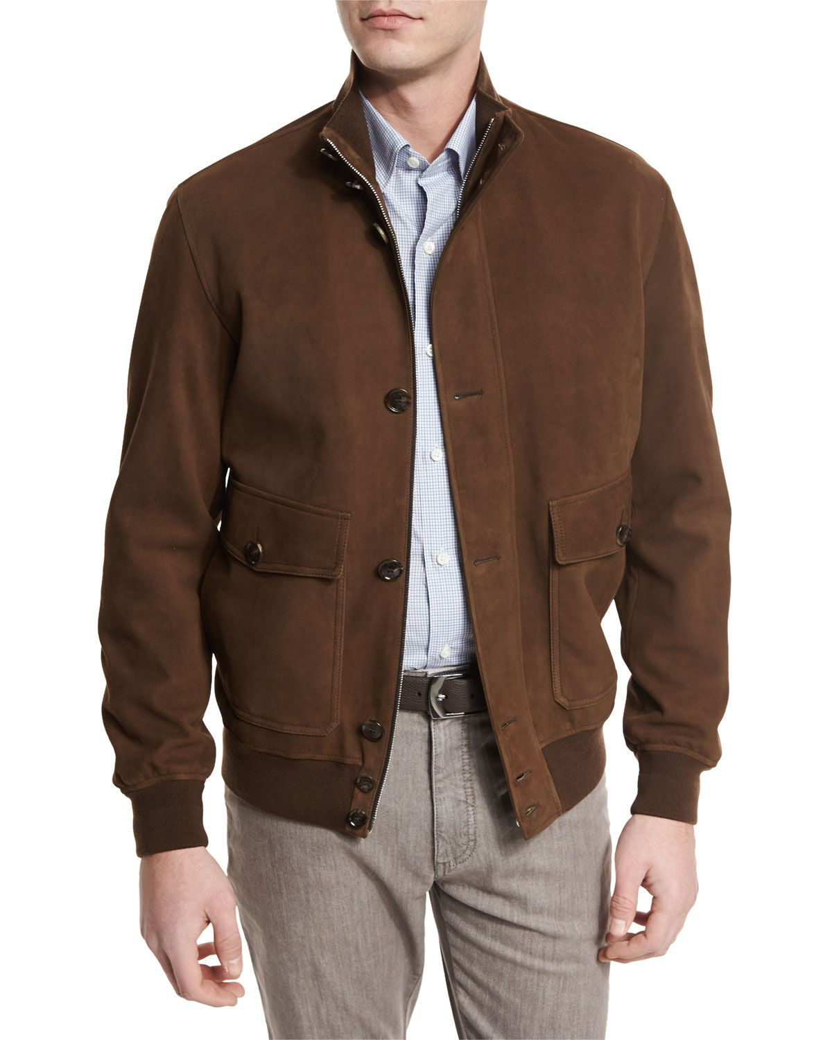 bba22bcc Full-Grain Suede Button-Down Jacket Cognac | *Outerwear > Coats ...