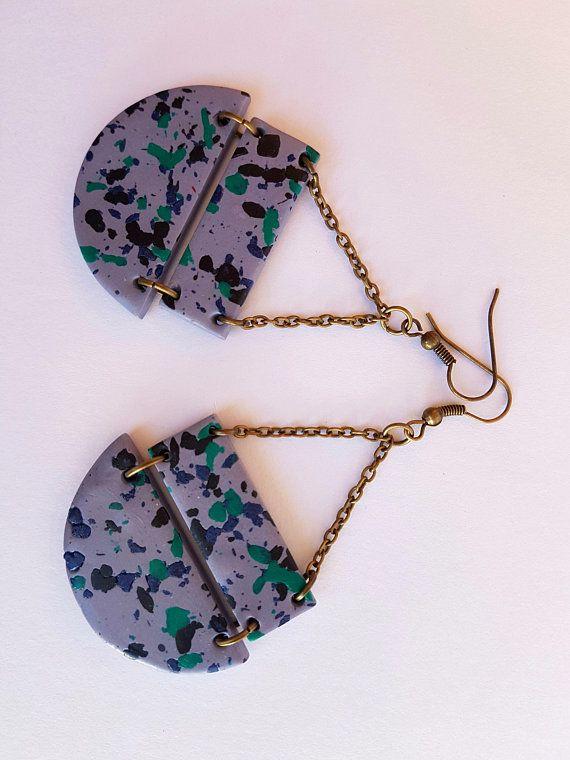 Marble gray geometric shaped earrings Terrazzo style