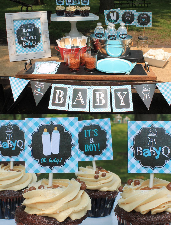 Boy Baby Q Decorations light blue baby shower chalkboard printable  #babyshowerideas4u #birthdayparty #babyshowerdecorations #bridalshower  #bridalshowerideas ...