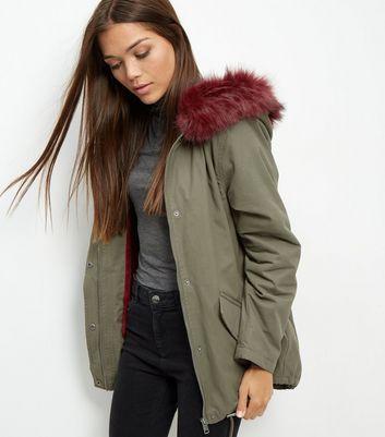 Khaki Faux Fur Trim Hooded Parka | Fur trim, Parka and Khakis