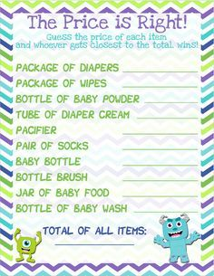 Monsters Inc Baby Shower Game   The Price Is Right!