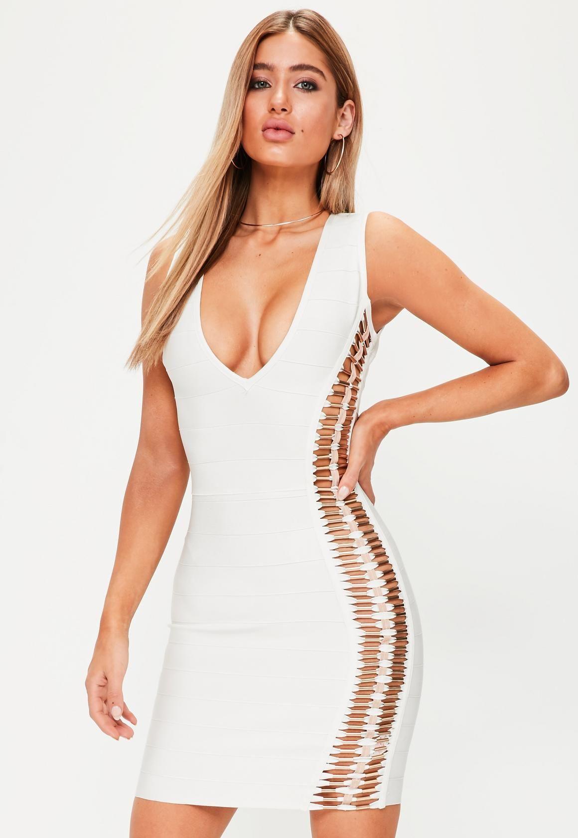 Missguided premium white bandage metal detail bodycon dress