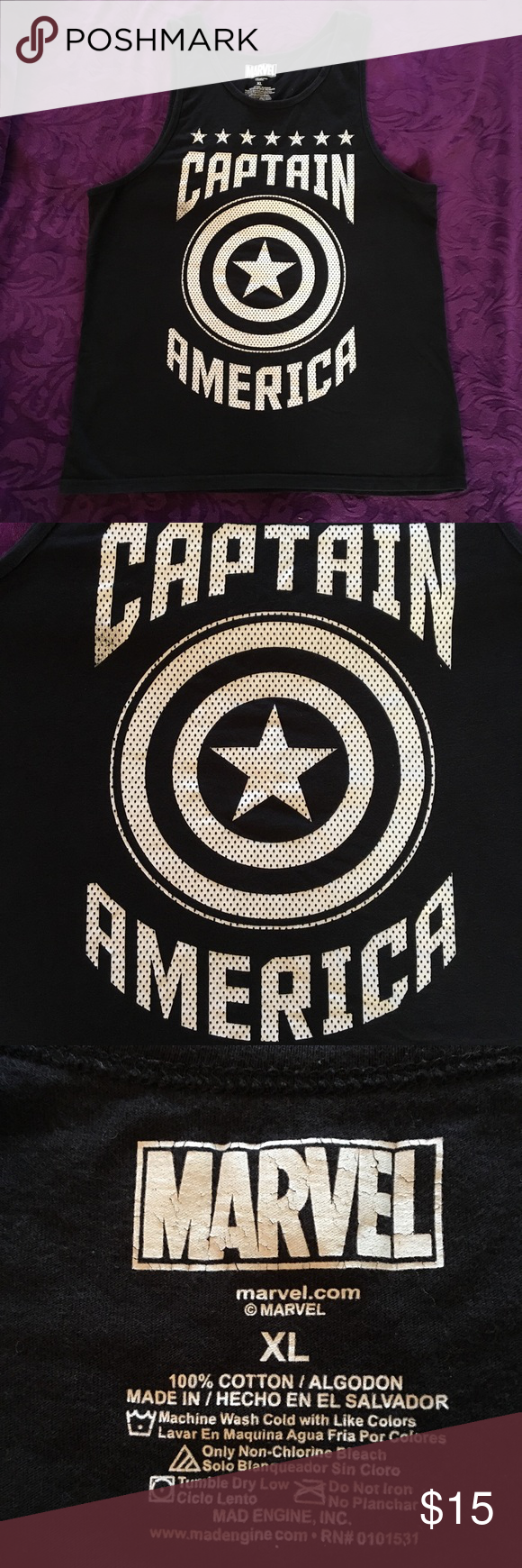 Capt America Tank Great condition black Captain America tank top. Size men's XL. Great for the superhero in your life! Marvel Shirts Tank Tops