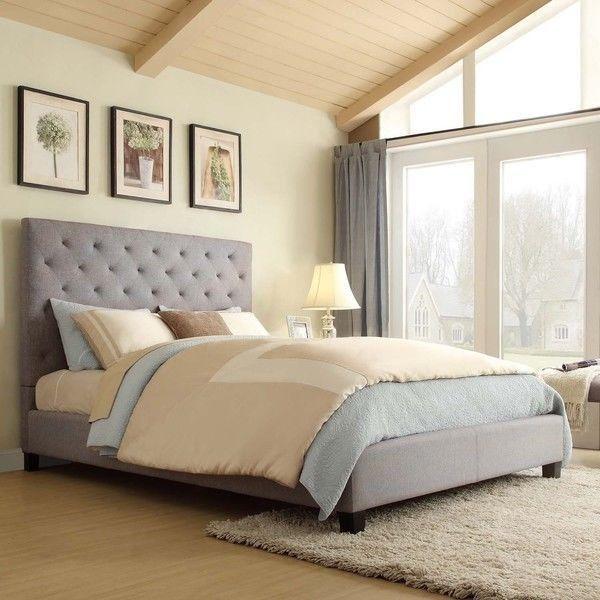 Best Modern Upholstered Tufted Padded Queen Gray Linen 400 x 300