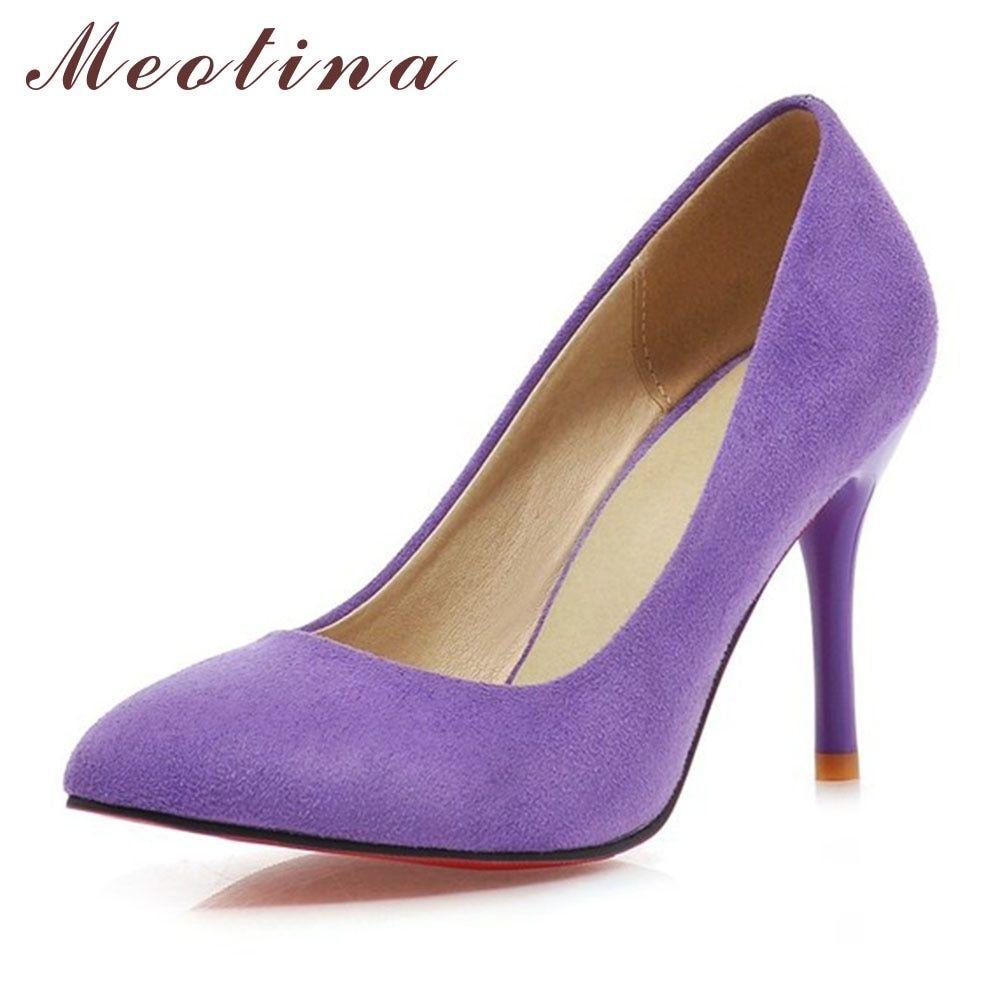 Meotina Shoes Women High Heels Pumps Flock Pointed Toe Women Pumps Ladies Shoes Thin High Heel Large Size 9 10 43 Blue Purple  Price: 35.32 & FREE Shipping