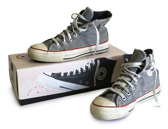 1970s Converse High Tops Chuck Taylor All Star Made in USA with Box / Black  and White Checkered Canvas Tennis Shoes / 7.5 Womens 5.5 Mens